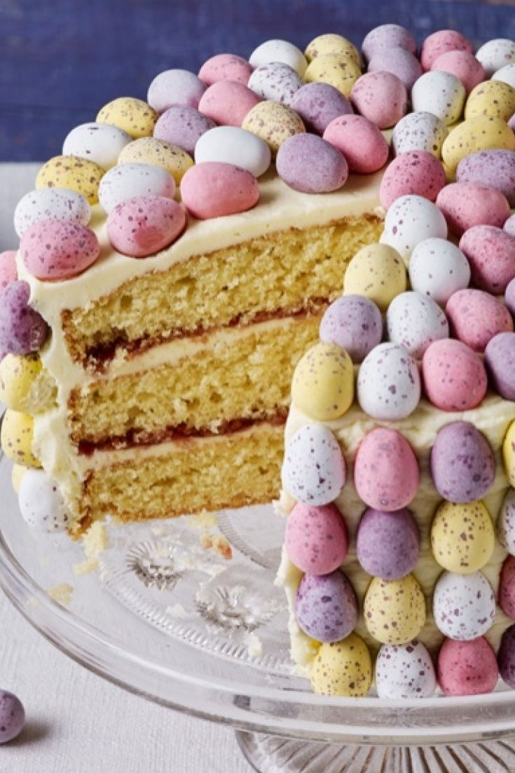 Beautiful vanilla sponge decorated with mini eggs
