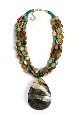 Big chunky statement necklace with mother of pearl and all sorts of great earthy tones.  Pretty!