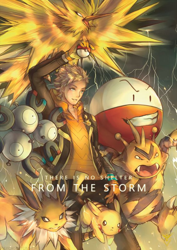 There is no shelter from the storm. Team Instinct is prepared for combat! This will be a print along with Mystic and Valor as part of the set at Animaga 2016 held this weekend!!