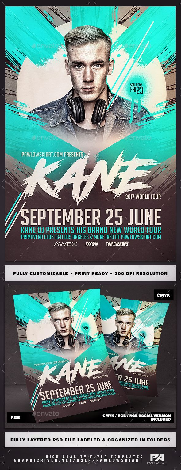Electro DJ World Tour v2 Flyer Template - Clubs & Parties Events
