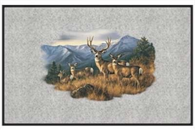 """Close to the Ridge Mule Deer - Big Game Animal - Gray - Door and Welcome Mat by Express Yourself Mats. $24.88. Great Gift Idea!. Door Mat Size 27""""x18"""". Personalization Available (choose above) - EMAIL TEXT TO SELLER AFTER CHECKOUT. Made in USA. Non-Skid Backing. Enjoy the Close to the Ridge Mule Deer design heat pressed on this light-weight, low pile, woven polyester door mat. This decorative welcome mat measures 27 x 18 inches, is 1/8 inch thick and features a non-ski..."""