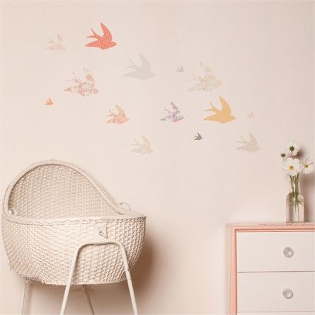 Beautiful Swallows Fabric Wall Decals