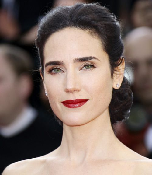For T // Dark Winter // Your jawline reminds me of Jennifer Connelly's, as well as your eyes and brows! Very cool. This would be a beautiful dressy lip color for you. Good hair color inspiration here, too.