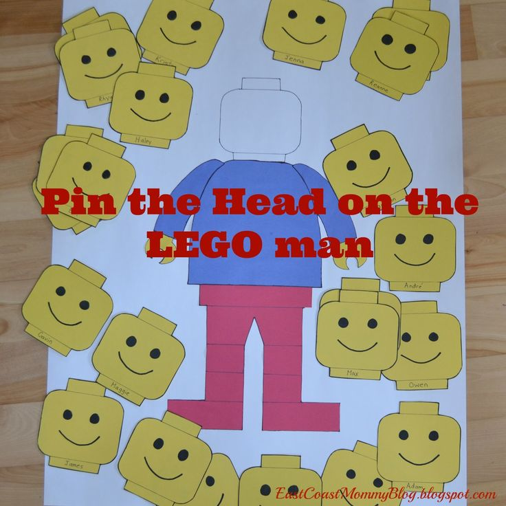 Lego Birthday Party - Pin the head on the Lego man game