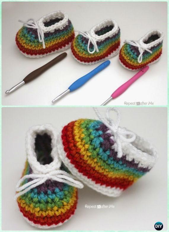 Crochet Arcobaleno Scarpette da neonato Free pattern - Crochet Scarpette da neonato Pantofole Free pattern