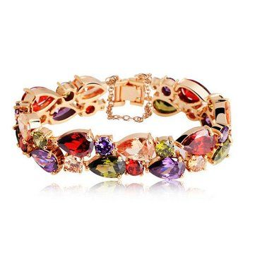 Colorful Zircon Peach Heart 24K Gold Rose Gold Plated Women Bracelet //Price: $39.98 & FREE Shipping //     #women watch  #Legging  #Jewelry  #Dresses  #Ring  #Yoga Pants