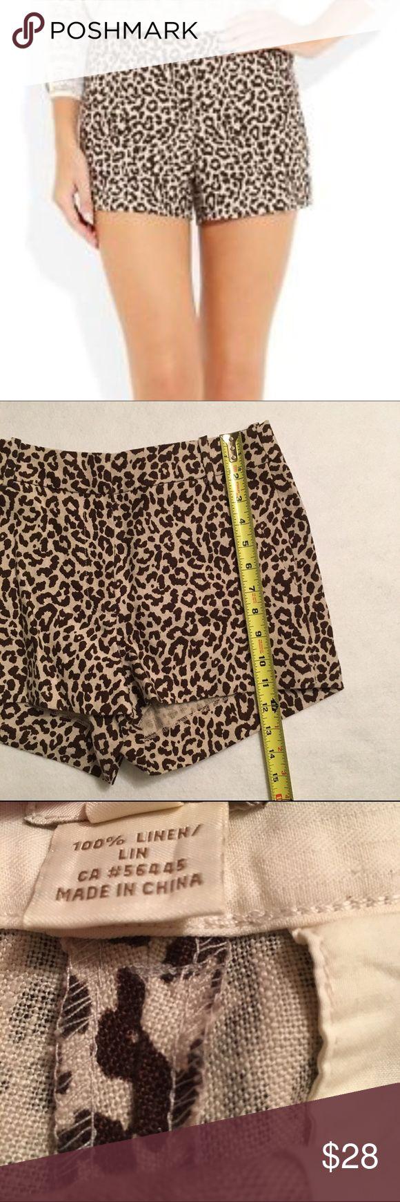 Leopard linen brown shorts Lightweight shorts J. Crew Shorts