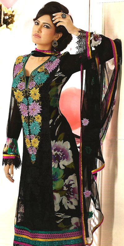 Pure Georgette Suit with Printed side Pannel and Embroidered Neckline with Pure Chiffon Dupatta.  http://goo.gl/6IMaeU
