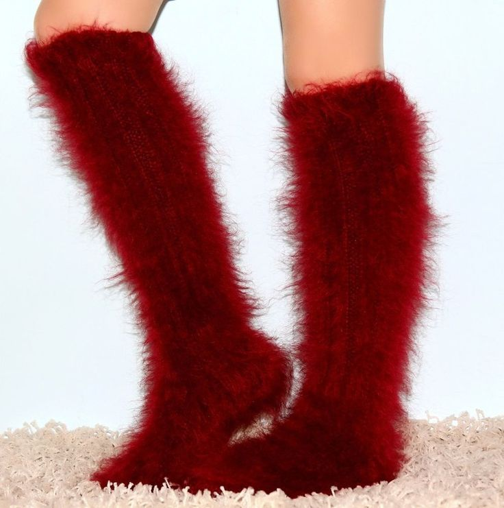 New Hand knitted mohair socks fuzzy handmade RED soft leg warmers by SUPERTANYA #SuperTanya #Casual