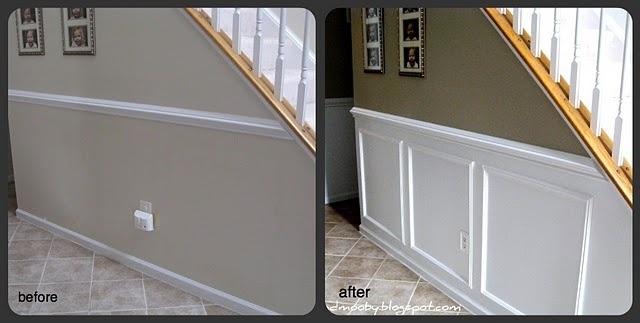 This is a great look. DIY with molding and paint. It looks so expensive but it's not.