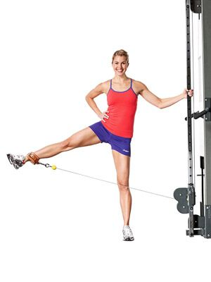 Cable Machine Standing Leg Lifts - Fitnessmagazine.com
