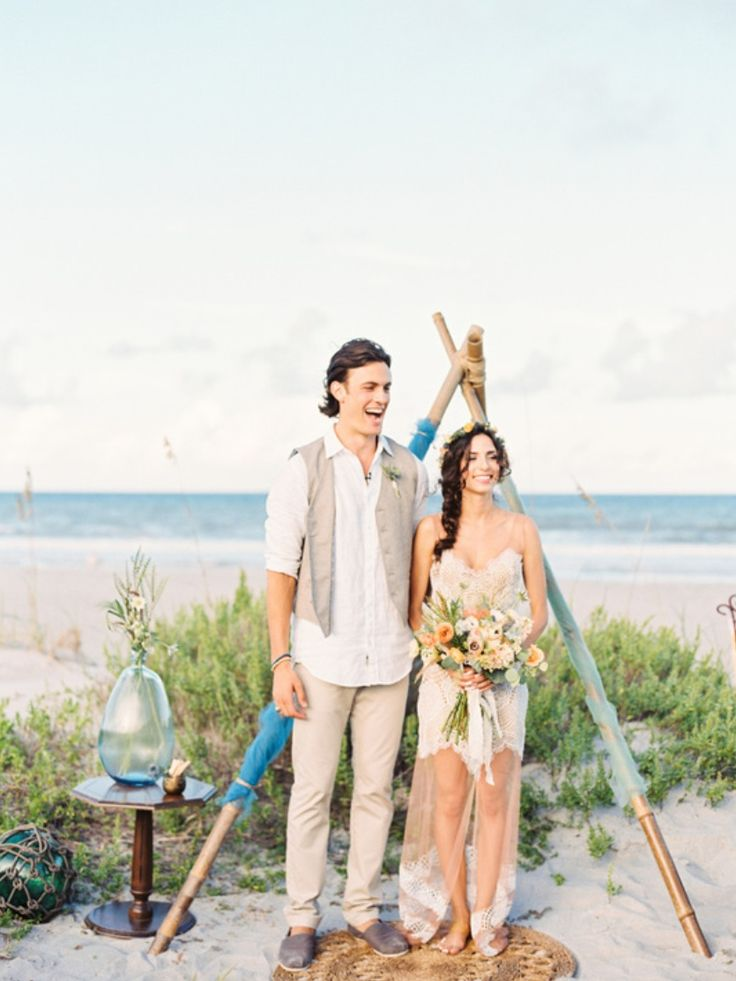 "beautiful evening beach wedding. the Atlantic Ocean provides a gorgeous backdrop for this stunning couple to say ""I do""."