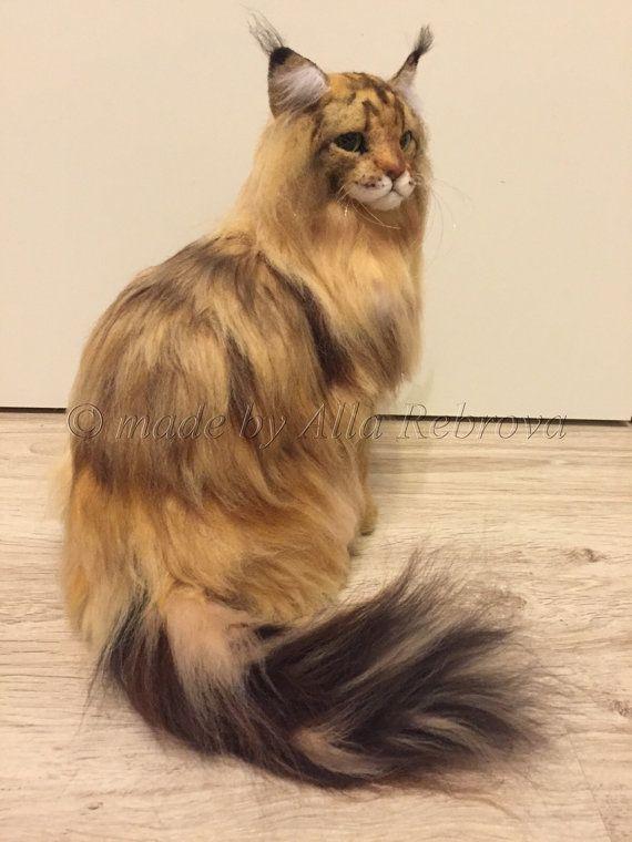 Nadel Gefilzte wolle Puppe Maine Coon Katze / Langhaar von coalla