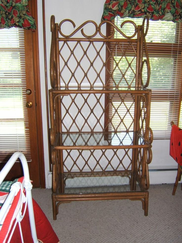 Vintage Rattan Three Glass Shelf Bakers Rack Etagere Tv