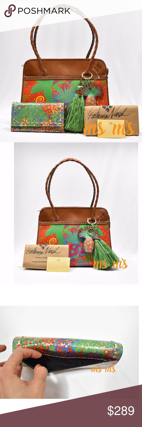 """NWT Patricia Nash Satchel Leather w match wallet Tote detail: new with tag Medium sized bag; 13-1/2""""W x 10-1/2""""H x 6""""D 9-1/2""""L double handles Zip closure Signature antique brass-tone exterior hardware, heavy handcrafted stitching, burned edge finish, deep embossed grape leaf logo, tassel accent & front & back large magnetic snap pockets 1 interior zip pocket, 2 slip pockets & 2 slip compartments Leather Wallet detail: NEW WITHOUT TAG, bought it without tag Size Approx: 7.5""""L x 4.2""""H x 0.75""""W…"""