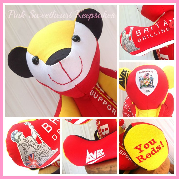 Ruby Jayne's Football Keepsake Bear - Football shirt keepsake bear, Barnsley FC, created by www.pinksweetheartkeepsakes.co.uk