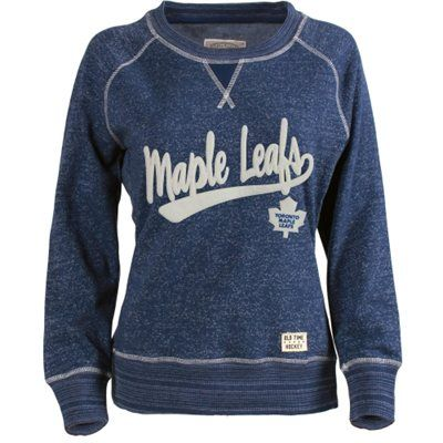 For Me Women's Toronto Maple Leafs Old Time Hockey Navy Blue Seneca Snow Fleece Crew Sweatshirt