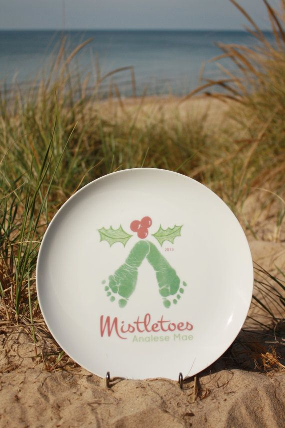 FOREVER PRINTS, porcelain mistletoes footprint plate, made from your child's footprints! Kiln fired to last forever. FREE Ink-less Print Kit...