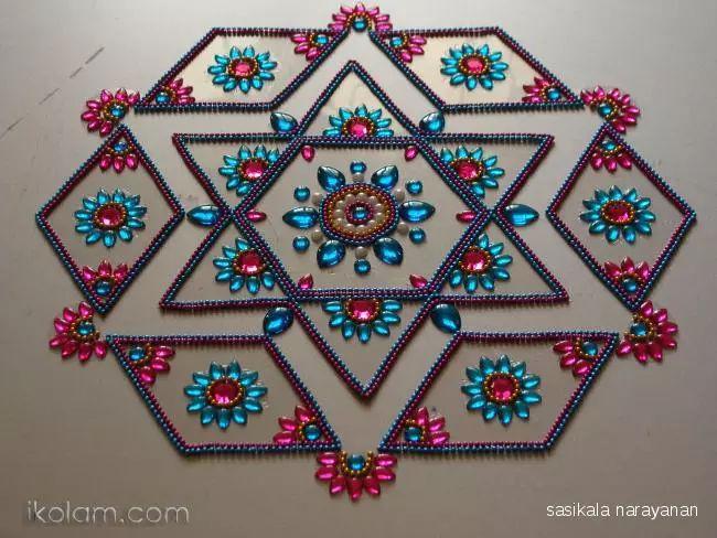 Rangoli kundan Dotted Kolam (connected dots) | m.iKolam.com