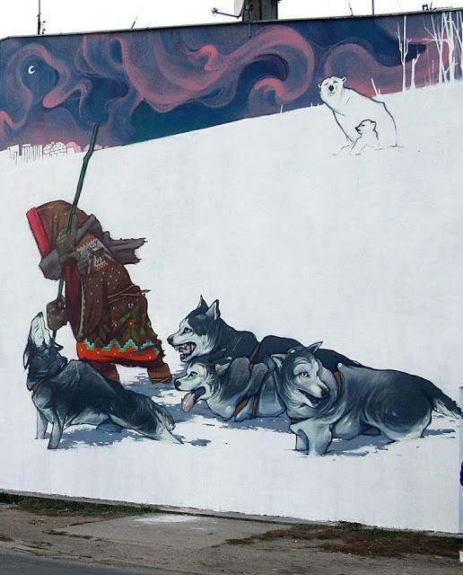 mural de Sainer y Betz (Etam cru) en Bydgoszcz, Polonia