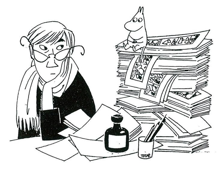 Tove Jansson with a Moomin