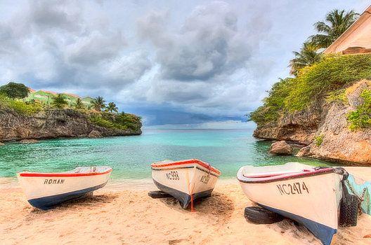 Nadia Sanowar - Fishing boats on the island of Curacao in The Caribbean