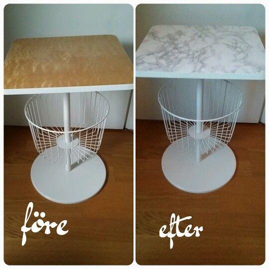 Före efter på ett loppis bord, använde endast självhäftande marmor designfolie ♥