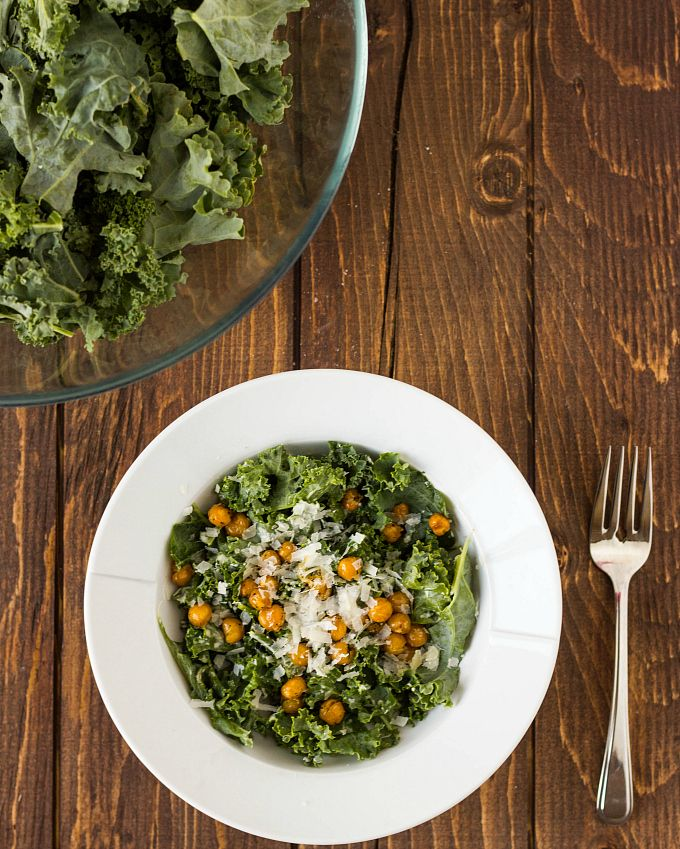 Vegetarian Caesar Salad with Kale and Chickpea Croutons - The Cookie ...