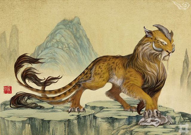 The Zheng. A beast from the mythologies of China that was reported to have lived amongst the creatures of this world. The Zheng was a leopard that had 1 long single horn protruding from its forehead. It was red and had 5 tails. The Zheng made the sound of striking stones.