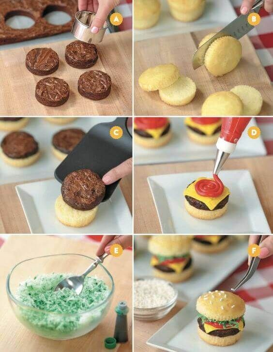 DIY Cupcake Hamburgers (Crabby Patties)