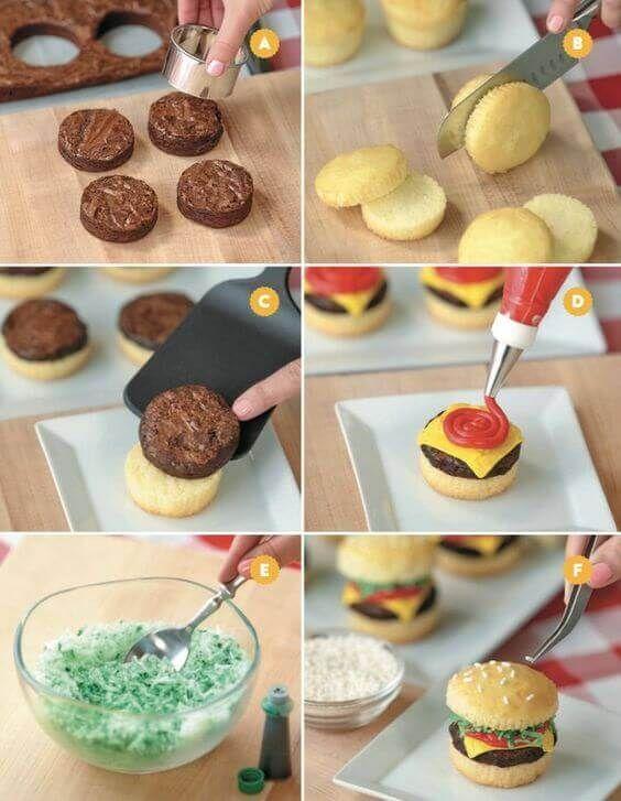 DIY Cupcake Hamburgers (Crabby Patties)