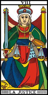 Arcano 8. La Justicia. La Justice.  El Tarot de Marsella.