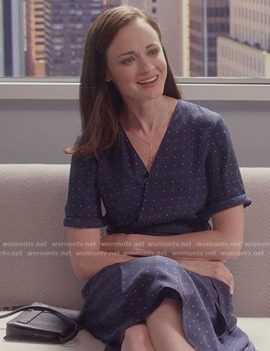 Rory's navy dotted wrap dress on Gilmore Girls: A Year in the Life.  Outfit Details: https://wornontv.net/62683/ #GilmoreGirls