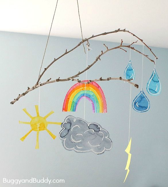 Here's a fun craft to add to your collection of weather activities for kids- a homemade weather mobile craft using a small branch!