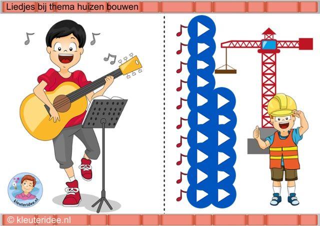 Interactieve liedlijst voor kleuters bij het thema, wij bouwen een huis, kleuteridee, juf Petra by ThingLink
