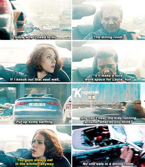 Leave it to Clint to discuss this in the middle of a battle. #Hawkeye #Avengers #AvengersAgeOfUltron