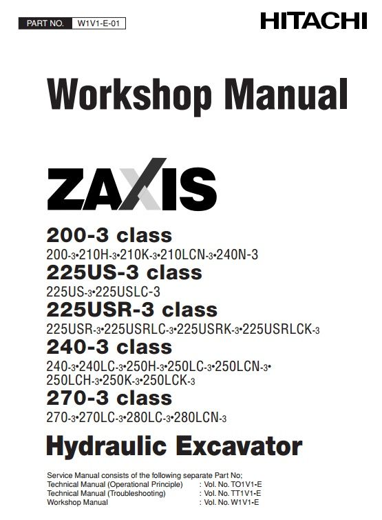 Original Illustrated Factory Service Manual consists of the following separate manuals:Technical Manual (Operational Principle)Technical Manual (Troubleshooting)Workshop ManualCircuit DiagramsGeneral InformationOriginal factory manuals for Hitachi Excavator Mashines, contains high quality images,