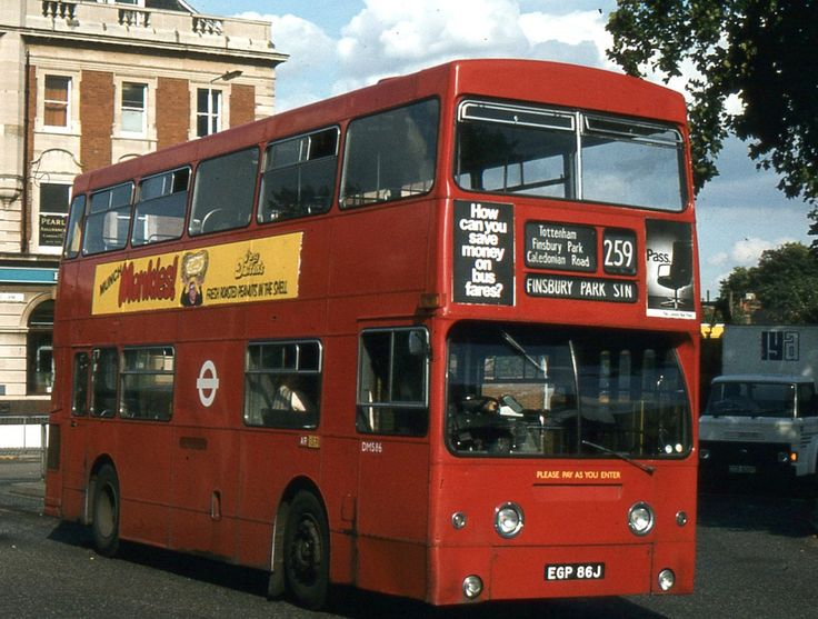 "https://flic.kr/p/aNJgQa | London Transport . DMS86 EGP86J . High Road , Tottenham , London . 24th-September-1980 . | Daimler Fleetline CRG6LXB - Park Royal H68D Working a southbound "" short journey "" to Finsbury Park Station , DMS86 on Route 259 . At the junction of Tottenham High Road , Broad Lane and West Green Road , by Seven Sisters Underground Station . 24th-September-1980 ."