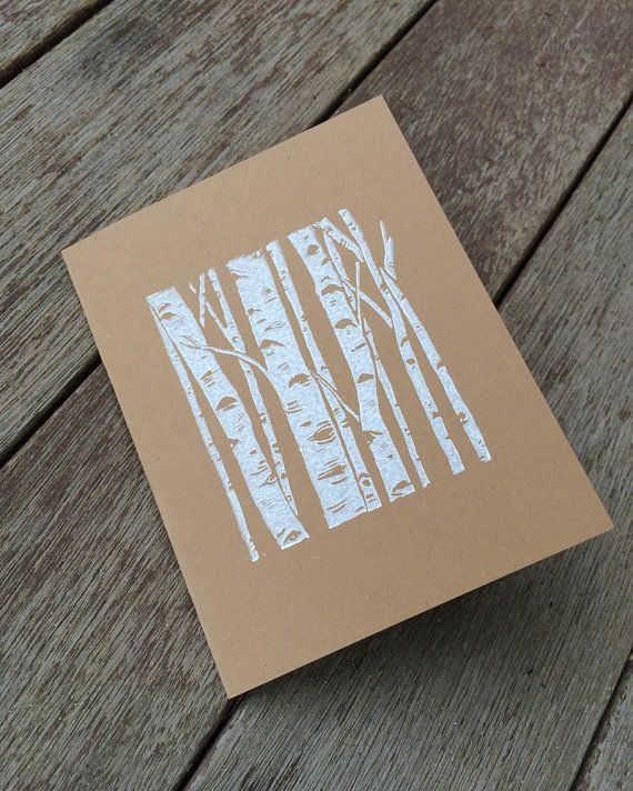 Linocut Card, Block Print Card, Birch Tree Card, White Birch Card, Blank Greeting Card, Hand Printed Cards, Brown Kraft Card, Linocut Cards