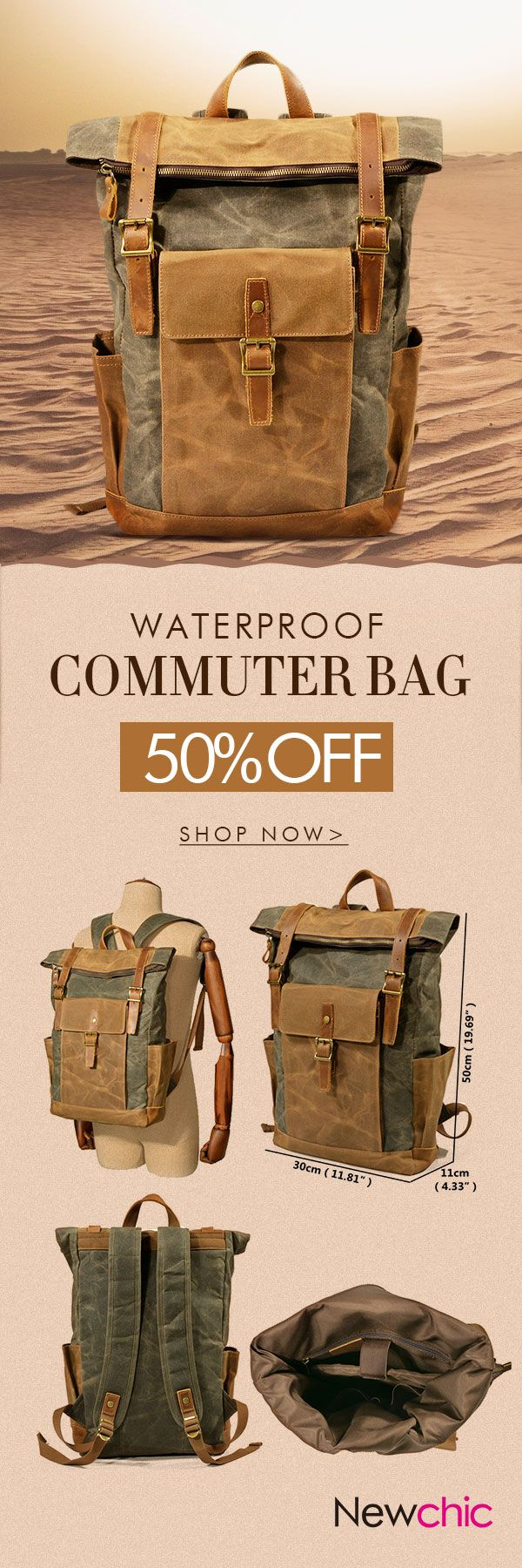 Men Vintage Canvas Casual Travel Large Capacity Waterproof Commuter Bag Backpack