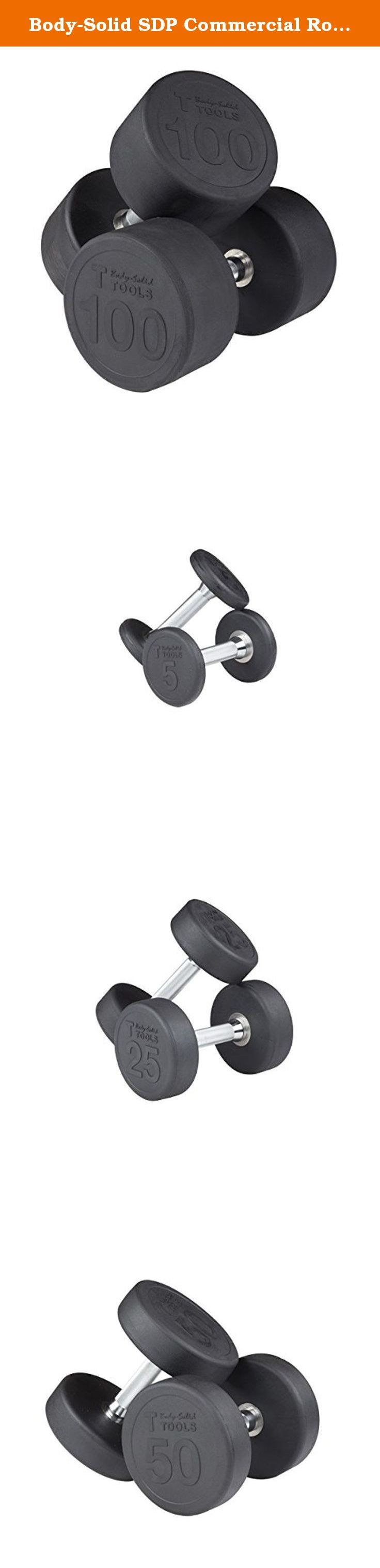 Body-Solid SDP Commercial Round Head Rubber Dumbbell Set - 5-100 lbs (20 pairs) - For Clubs and Home Gyms. SDP Series 5-100 lb. Commercial Round Head Rubber Dumbbell Set from Body-Solid (SDPS2100) - Body-Solid's rubber round dumbbells (SDP) are an ideal fit for any residential, vertical market, or commercial application, including home gyms, garage gyms, personal training studios, hotel and resort fitness centers, commercial gyms, and sports performance training centers. The machined…