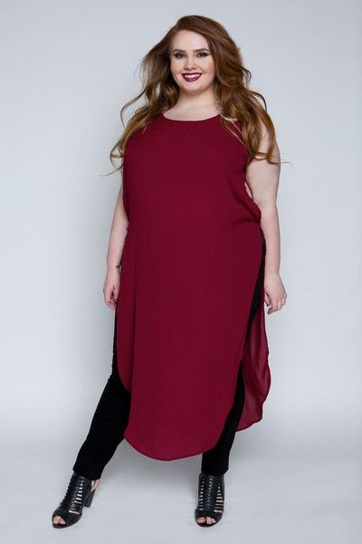 Plus Size Clothing For Women - Empowered Slit Plus Size -3484