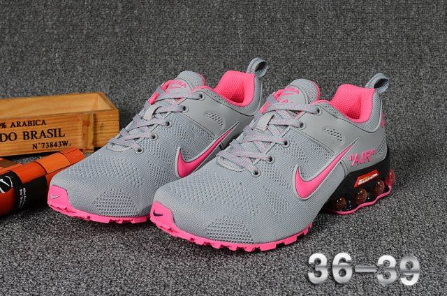 official photos f2255 d87fa Nike Air Shox Flyknit Wolf Grey Pink Shox R4 Women's Athletic Running Shoes