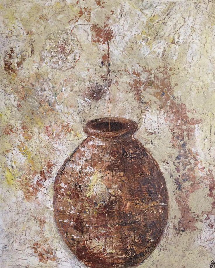 """""""Mormors dug"""" """"Grandma's table-cloth"""" Krukke lavet af mormors fine dug og akrylmaling. Theis painting is made of Grandma's table-cloth and acrylic painting. Copyright by www.anne-mette.com  #mormor #painting #paintingforsale #krukke #maleri #pinterest #pin #grandma #largejar #jar #exhibit #exhibitionart #like4likes #maleri #danishartist #danishart #walldecor #walldecoration #bobedredk #artist #indretningsdesign #kunstner #art #artoninstagram #forsale #tilsalg #kunst@anne-mette.com"""