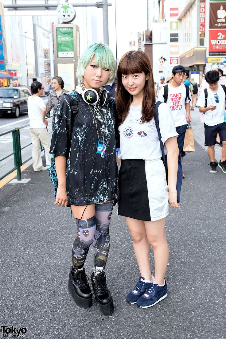 17-year-old Japanese students Watson (Instagram, Twitter) & Mayu (Instagram, Twitter) on the street in Harajuku. Watson is wearing Monomania & Cyberdog. Mayu is wearing resale fashion.