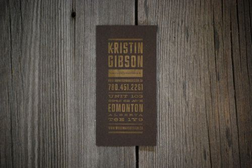 Woodward Design - Business Card Design www.kristingibson.ca