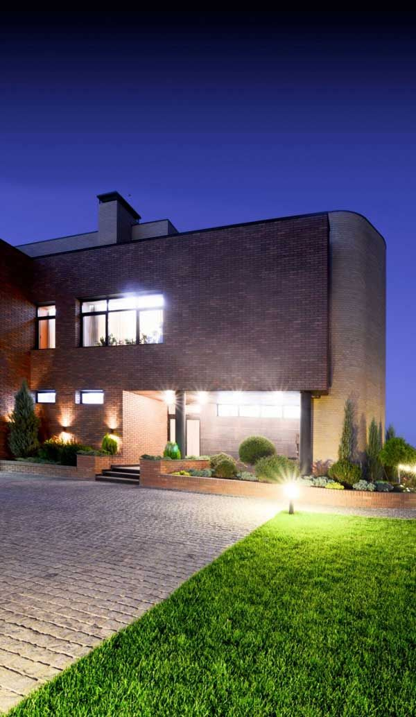 Apartments, Best Architect Design Exterior Home Lighting Plant Courtyard Garden Park Lamp Random Stone Floor Pattern Brick Wall Modern Homes Local House Designer Natural Residence: Excellent, Kiev Residence Built With Locally Resourced Materials