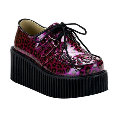 panther creepers purple http://www.attitudeholland.nl/haar/schoenen/creepers/creepers-laag/creeper-208-purple-cheetah-glitter/