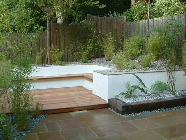 Sleepers and rendered wall garden structures pinterest for Rendered garden wall designs