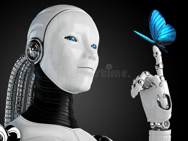 Robot android woman with butterfly. Technology background , #spon, #woman, #android, #Robot, #background,